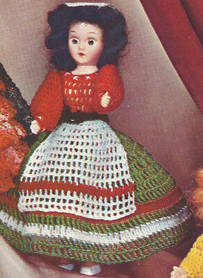 Vintage Crochet Pattern 8 Doll Clothes Italian Dress Apron Belt Hat Miss Italy