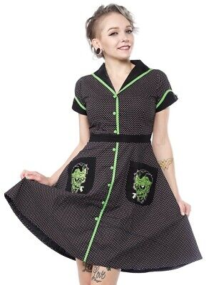 New Sourpuss Monster Diner Dress Psychobilly Gothic Pin Up Tattoo Punk Rock L