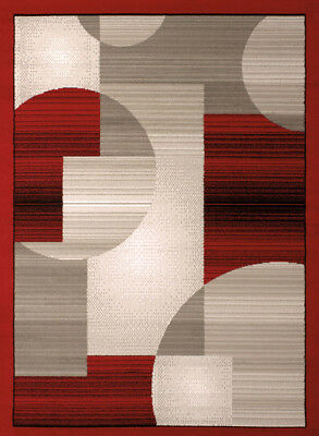 Red Contemporary Geometric Area Rug Circles Blocks Cubes Polypropylene Carpet Blocks Contemporary Area Rug