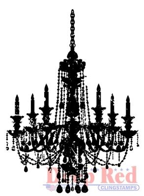 Deep Red Stamps Chandelier Silhouette Rubber Cling Stamp](Chandelier Silhouette)