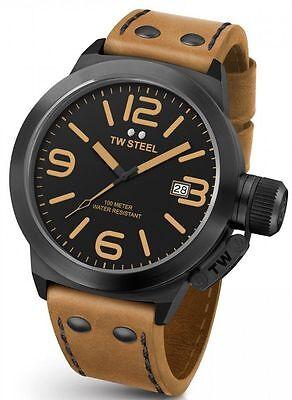 Mens TW Steel 45mm Canteen Brown Leather Black Dial Case Date Quartz Watch CS41