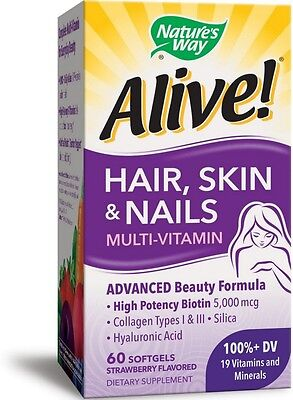 Natures Way Alive  Hair  Skin   Nails Softgels  Strawberry Flavored 60 Ea