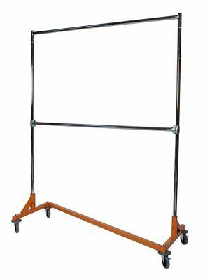 Commercial Grade Double Bar Rolling Z Rack With Nesting Orange Base Set Of 2