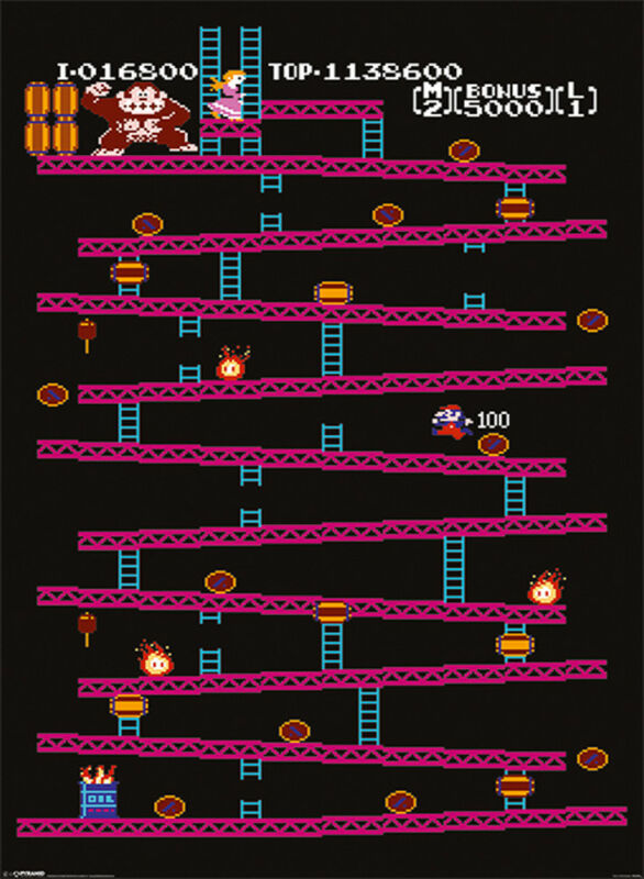 Official Donkey Kong Poster 91.5 x 61cm Funky Kong Chunky Kong Dixie Kong