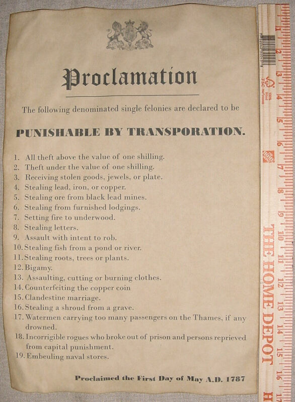 19 Crimes Punishable by Transportation to Australia 11x17, England wanted outlaw