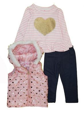 Nannette Girls Pink Heart Vest 3pc Legging Set Size 2T 3T 4T 4 5 6 6X