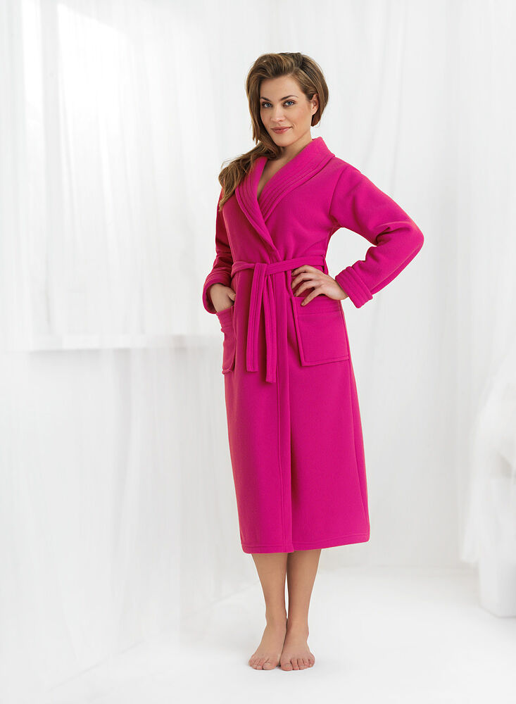 New Womens Luxury Soft Long Bathrobe Dressing Gown Housecoat UK Robe ...