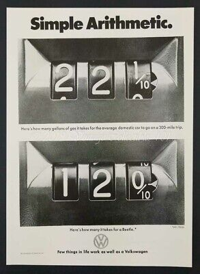 1973 VW Volkswagen Beetle classic car gas mileage photo vintage print ad poster