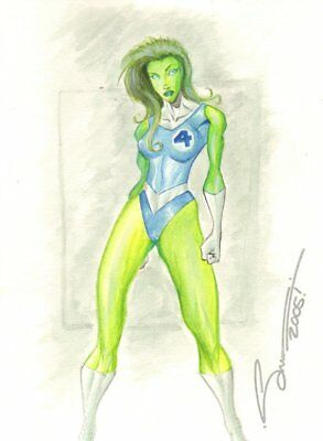 She-Hulk in Fantastic Four Costume Color Commission - art by Unknown - She Hulk Costume