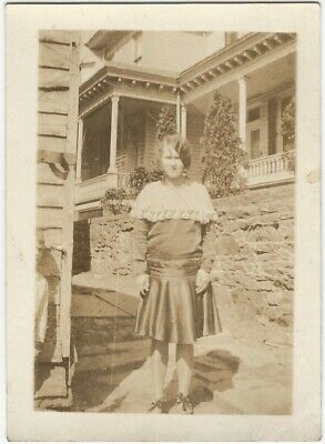 1920s Young Woman Ready for Party in Front Yard Snapshot - Parties In 1920s