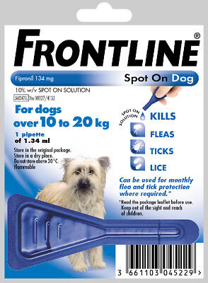Frontline Spot On Flea, Lice Treatment 1 Pipette For Medium Size Dogs 10 - 20kg