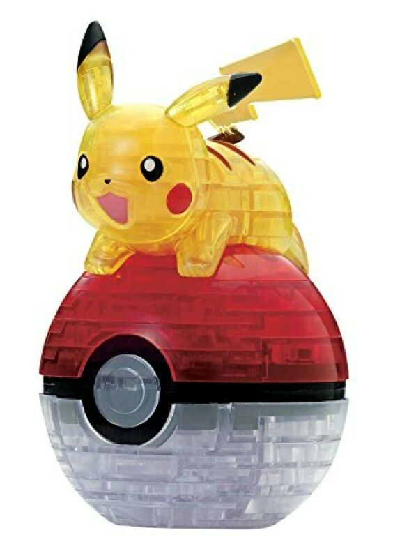 Beverly 3D Crystal Puzzle Pokemon Pikachu & Pokeball 61 Pieces JAPAN NEW F/S