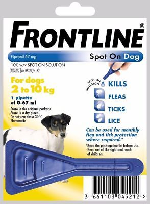 FRONTLINE SPOT ON FLEA TREATMENT FOR SMALL DOG 2-10KG 1 TREATMENT FREE POST,