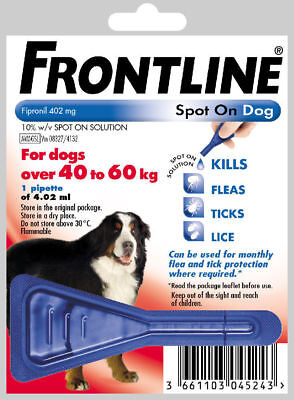 Frontline Spot On Flea For XL Dogs 40 - 60 kg 1 pipette fast post