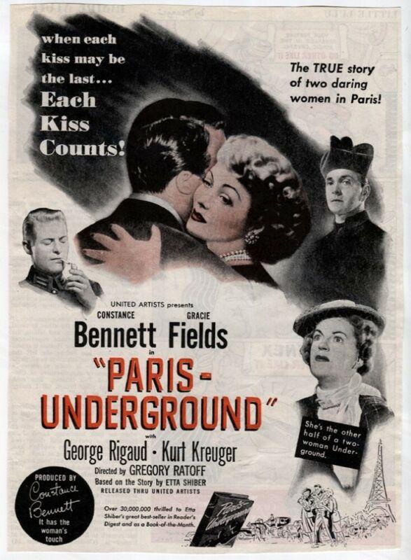 PARIS UNDERGROUND AD 1945 Constance Bennett Gracie Fields Movie Magazine Vtg AD