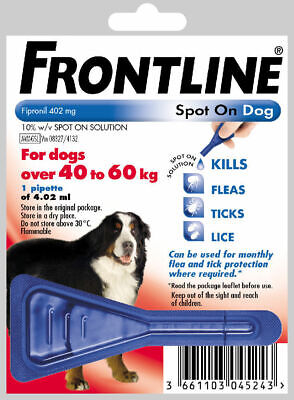 Frontline Spot on Flea and Tick Treatment Extra Large Dogs 40-60kg 1 Pipette