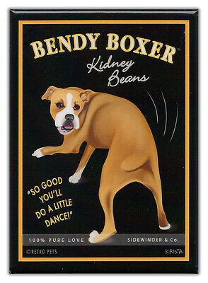 Retro Dogs Refrigerator Magnets: BOXER | KIDNEY BEANS | Vintage Advertising Art