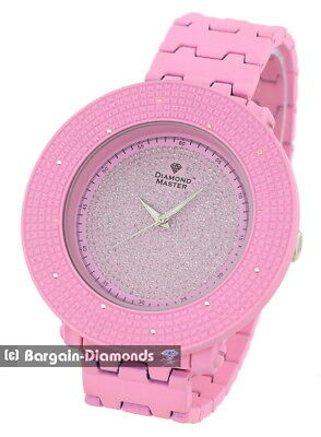 "mens .12 carat diamond pink watch 60 mm bezel deluxe 8.5"" bracelet master maxx"