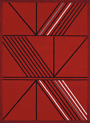 United Weavers Red Stripe Lined Angled Contemporary Area Rug Geometric 950-11130