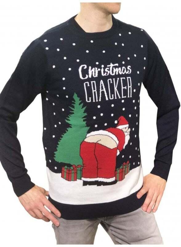 Christmas Jumper Mens Christmas Cracker Midnight Navy Ebay
