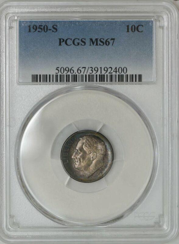 1950-S Roosevelt Dime 10c MS67 PCGS 942990-31