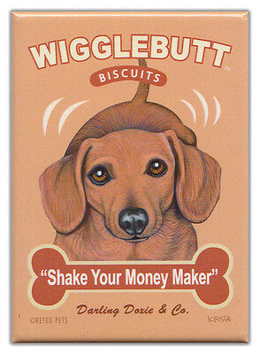 Retro Dogs Refrigerator Magnets: DACHSHUND | BISCUITS | Vintage Advertising Art