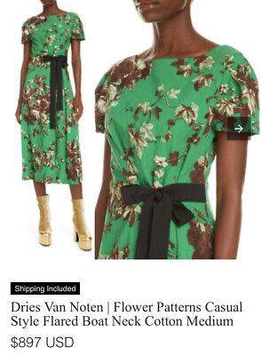 Dries Van Noten - Green Delia Floral Metallic Midi Dress Sz Fr 36 / 2-4 US $895