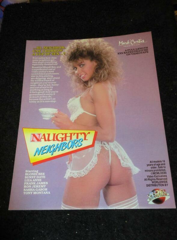 BLONDI BEE/DANA LYNN PROMO AD SLICK-Naughty Neighbors/High Rollers 1987
