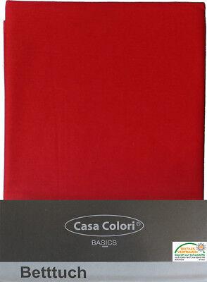 Bettlaken, Betttuch 150x250 cm, rot, klassisch ohne Spanngummi, Haustuch Baumwol
