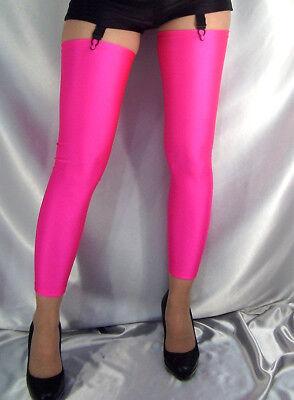 NEON PINK OPAQUE SPANDEX FOOTLESS STOCKINGS LEG WARMERS XS S M L XL XXL XXXL - Neon Pink Stockings