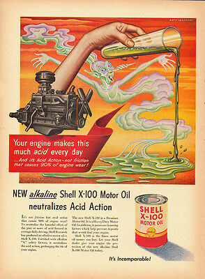 1950's Vintage ad Shell Motor Oil/Illustration (042613)