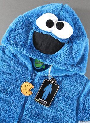Krümelmonster Onesie Jumpsuit Overall Schlafanzug Pyjama Cookie Kostüm XS - (Pyjama Onesies Kostüm)