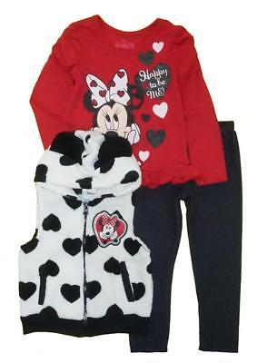 Minnie Mouse Girls Fluffy Heart Vest 3pc Legging Set Size 2T 3T 4T](Fluffy Girls)