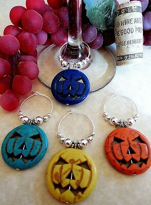 Halloween Jack O Lanterns Ideas (Halloween Party Jack O' Lantern Pumpkin Wine Glass Charms Set of 4 Gift)
