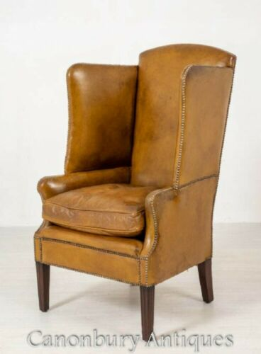 Antique Porters Chair - Georgian Leather Circa 1800