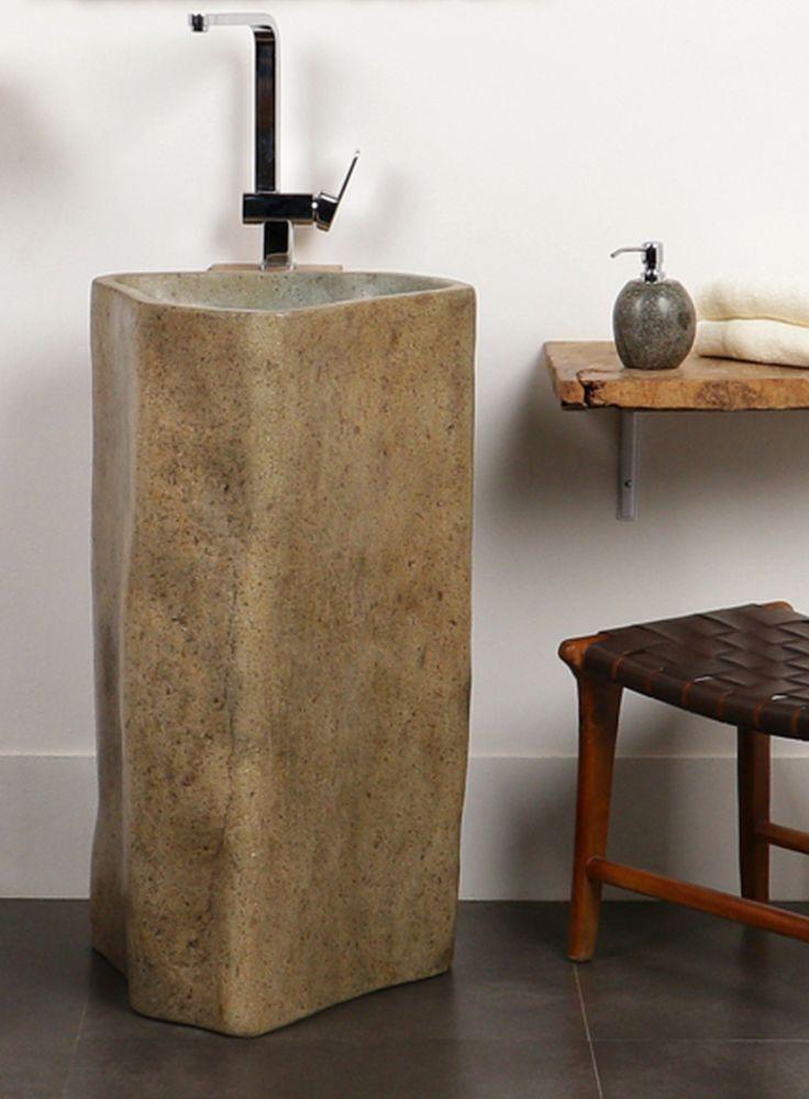 WOHNFREUDEN Waschtisch Säule aus Naturstein ca. 60 x 85 cm mit Unikatauswahl