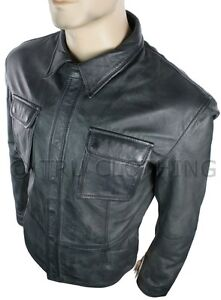 Mens-Fitted-Vintage-Shirt-Style-Retro-Leather-Jacket-Grey-Black-Casual