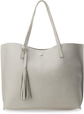 Modische Einkaufstaschen (modische Damentasche Shopperbag Einkaufstasche Handtasche mit Fransen grau)