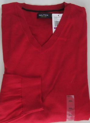 SALE NWT Nautica Knit V-Neck Sweater Red Sizes XL  XXL