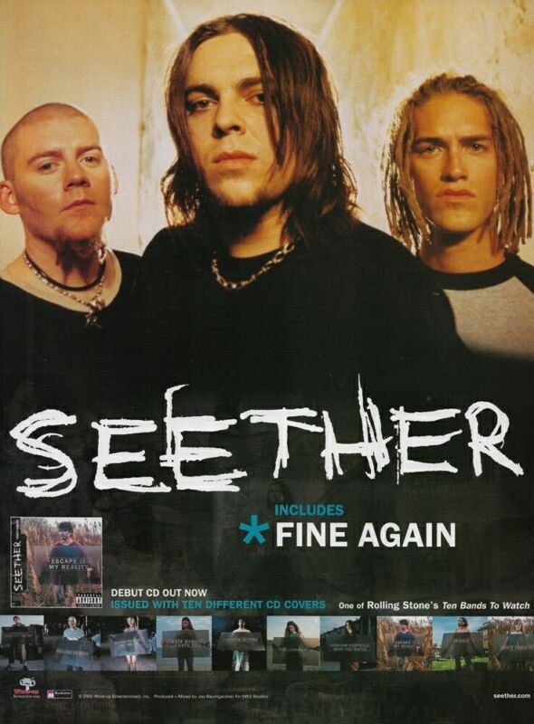 Seether Disclaimer Wind-Up Entertainment 2002 8x11 Promo Poster Ad