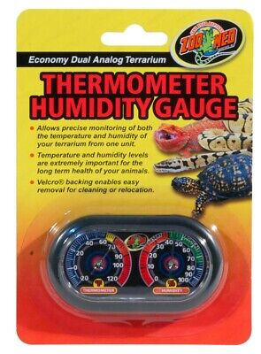 Zoo Med Economy Dual Analog Terrarium Thermometer Hygrometer and Humidity Gauge