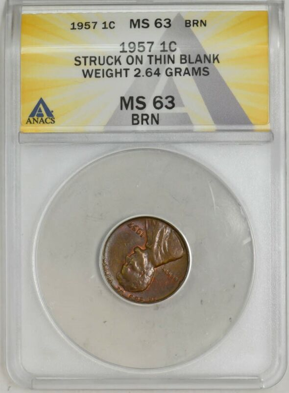 1957 Lincoln Cent 1c Struck on Thin Blank 2.64 Grams MS63 ANACS 943057-5