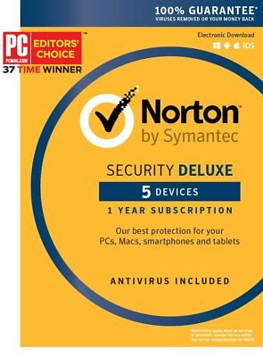 Symantec Norton Security Deluxe 5 DEVICES–PC MAC Android IOS BOX (KEY Card)