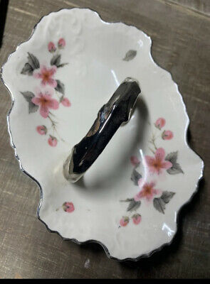 Vintage Ceramic Trinket Dish Jewelry Ring Holder Porcelain Hand Painted-DELICATE