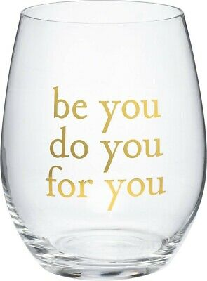 BE YOU - DO YOU - FOR YOU Stemless Wine Glass in Gift Box, Primitives by Kathy