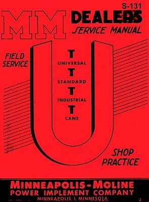 Minneapolis Moline U Ut Universal Cane Service Manual