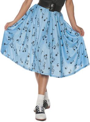 Halloween Fancy Dress Shops (50's Blue Musical Note Costume Skirt Fancy Dress Retro Soda Shop Womens)