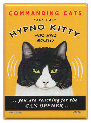 Retro Cats Refrigerator Magnets: HYPNO KITTY | Vintage Advertising Art