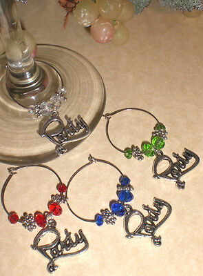 Party Time! 4 Wine Glass Charms Gift Idea from Oh Sew Cute Aprons and More](Wine Party Ideas)