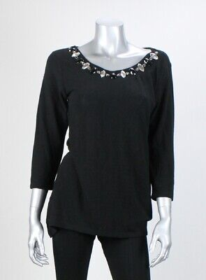 INC International Concepts Black 3/4-Sleeve Embellished Neck Sweater L Clothing, Shoes & Accessories